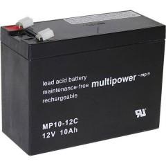 multipower PB-12-10-6,35 Batteria al piombo 12 V 10 Ah Piombo-AGM (L x A x P) 151 x 118.5 x 65 mm Spina piatta