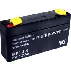 multipower PB-6-1,2-4,8 Batteria al piombo 6 V 1.2 Ah Piombo-AGM (L x A x P) 97 x 57 x 25 mm Spina piatta 4,8 mm