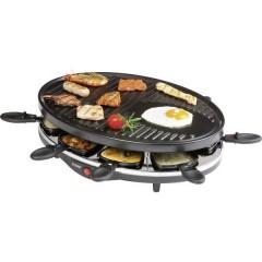 DOMO Raclette Funzione grill, Rivestimento antiaderente, Spia luminosa, 8 vaschette Nero