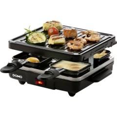 DOMO Just us Raclette Funzione grill, Rivestimento antiaderente, Spia luminosa, 4 vaschette Nero