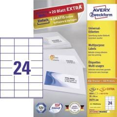 Avery-Zweckform Etichette 70 x 36 mm Carta Bianco 5280 pz. Permanente Etichetta universale Inchiostro, Laser,