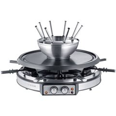 RG 2348 Raclette 8 forchette da fonduta, 8 vaschette acciaio inox, Nero