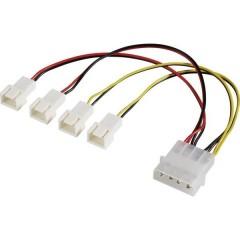 Cavo a Y Ventola PC [4x Spina ventola PC a 3 poli - 1x Presa alimentazione IDE a 4 poli] 15.00 cm Nero, Rosso, Giallo