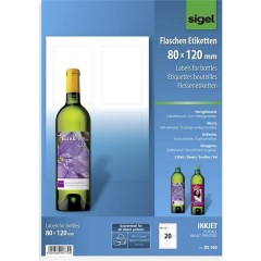 80 x 120 mm Carta Bianco 20 pz. Permanente Etichette per bottiglie