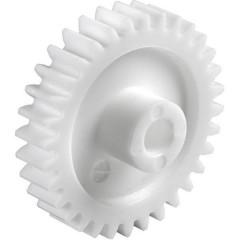 Poliacetale Ingranaggio dentato cilindrico Tipo di modulo: 0.5 Ø foro: 6 mm Numero di denti: 50