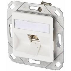 Presa di rete Da incasso Inserto con piastra centrale CAT 6 1 Porta Bianco puro