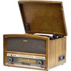 Sistema stereo CD, Cassette, Giradischi, FM, USB, funzione di registrazione 2 x 20 W Legno