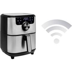 Friggitrice ad aria calda 1500 W controllo via App, Funzione timer Nero, Argento