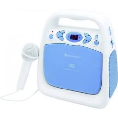 KCD 50 Lettore CD per bambini AUX, CD, FM, USB incl. funzione karaoke , incl. Microfono Blu