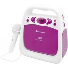 KCD 50 Lettore CD per bambini AUX, CD, FM, USB incl. funzione karaoke , incl. Microfono Rosa