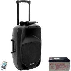 MES-15BT2 Altoparlante portatile PA 38 cm 15 pollici rete elettrica, a batteria ricaricabile 1 pz.