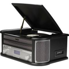 MRD-51 Sistema stereo DAB+, CD, Cassette, Giradischi, AUX, USB, funzione di registrazione 2 x 2.5 W Nero