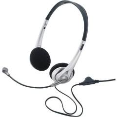 TW-218 Cuffia Headset per PC Jack 3,5 mm Filo, Stereo Cuffia On Ear Nero, Argento