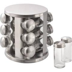 Supporto in acciaio inox con 12 barattoli per spezie in vetro
