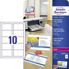 Biglietti da visita stampabili, bordi lisci 85 x 54 mm Bianco 250 pz. Formato carta: DIN A4