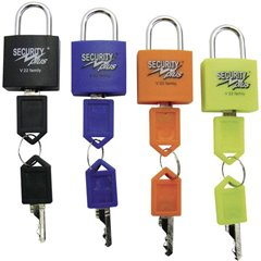 Lucchetto Kit da 4 V 22-4 Giallo Neon , Blu, Arancione, Nero Lucchetto a chiave