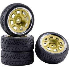 1:10 Auto stradale Ruote complete Racing Fori Oro, Cromo (lucido) 4 pz.