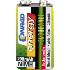 Endurance 6LR61 Batteria ricaricabile da 9 V NiMH 200 mAh 8.4 V 1 pz.
