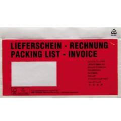 Busta documenti DL Rosso Lieferschein-Rechnung, mehrsprachig con autoadesivo 250 Pz/Conf 250 pz.