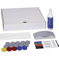 Kit accessori lavagna bianca Whiteboard scatola con 4 marcatori, cancellino, detergente, 15 magneti tondi 32 mm