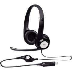 H390 Cuffia Headset per PC USB Filo, Stereo Cuffia Over Ear Nero