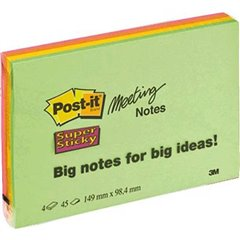 Nota adesiva, memo 149 mm x 98 mm Verde Neon, Arancione Neon , Ultra-Rosa , Ultra-Giallo 180 Foglio