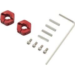 Mozzo ruota in alluminio 1:10 12 mm a 6 spigoli Rosso 4 pz.
