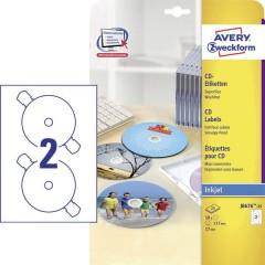 Etichette per CD Ø 117 mm Carta Bianco 50 pz. Permanente qualità delle foto, Opaco, Stampabile