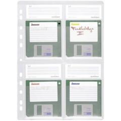 Busta per raccoglitore floppy disk 4 floppy disk 3,5 Trasparente 5 pz.