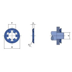 Rondella di bloccaggio Adatto per diametro dellalbero: 2 mm 20 pz.
