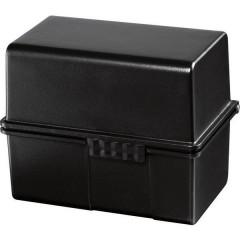Schedario Nero DIN A8 orizzontale cerniera in acciaio, il coperchio può essere utilizzato come contenitore