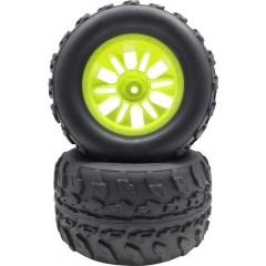 Ruote complete 1:10 Monstertruck Blocco Offroad V 6 doppi raggi Giallo Neon 2 pz.