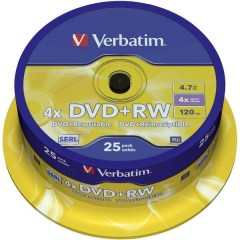 DVD+RW vergine 4.7 GB 25 pz. Torre riscrivibile