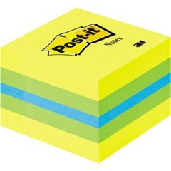 Cubo note adesive 51 mm x 40 mm Blu, Verde limone, Giallo Limone 400 Foglio