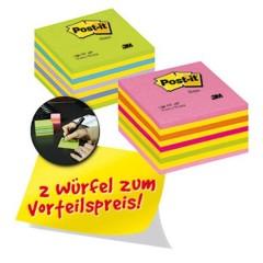 Cubo note adesive 76 mm x 45 mm Giallo, Blu neon, Verde Neon, Rosa neon, Rosa 900 Foglio
