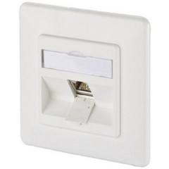 Presa di rete Da incasso Inserto con piastra centrale e telaio CAT 6A 1 Porta Bianco puro
