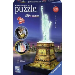 Puzzle 3D Freiheitsstatue di notte