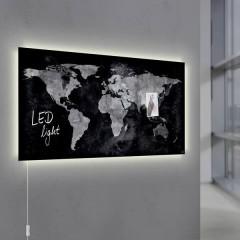 Lavagna magnetica in vetro con illuminazione led Artverum World Map LED Light Nero (L x A) 91 cm x 46 cm