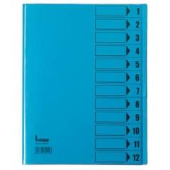 Cartellina con divisori Blu DIN A4 PVC Numero scomparti: 12