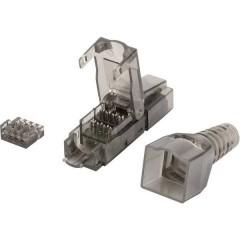 RJ45 Rete Adattatore CAT 6A [1x IDC, Connettore di isolamento - 1x Spina RJ45, Spina RJ45 8p8c] Nero