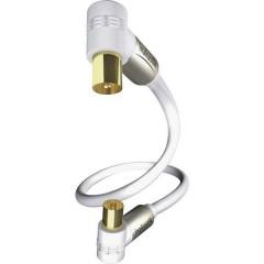 Antenna Cavo [1x Spina antenna 75 Ω - 1x Presa antenna 75 Ω] 5.00 m 100 dB Contatti connettore dorato Bianco