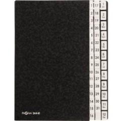 Cartellina classificatrice Cellulosa spessa Nero DIN A4 Numero scomparti: 44 1-31, 1-12, Genn.-Dic.