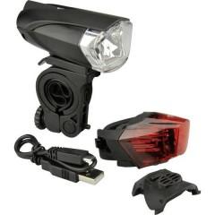 Kit illuminazione bicicletta LED (monocolore) a batteria ricaricabile Nero