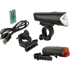Kit illuminazione bicicletta LED (monocolore) a batteria ricaricabile, a batteria Nero