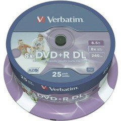 DVD+R DL vergine 8.5 GB 25 pz. Torre stampabile