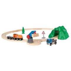 Starterset Güterzug mit Kran, ab 3 Jahren, Holz