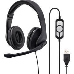 Cuffia Headset per PC USB Filo, Stereo Cuffia On Ear Nero