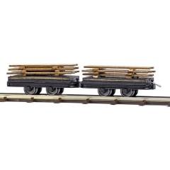 H0f due vagoni con carico di legno