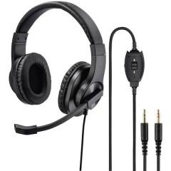 HS-P300 Cuffia Headset per PC Jack 3,5 mm Stereo, Filo Cuffia On Ear Nero
