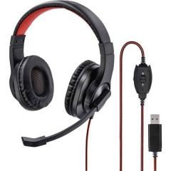 HS-USB400 Cuffie USB Stereo, Filo Cuffia Over Ear Nero, Rosso